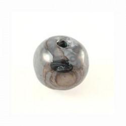 Perle céramique 16mm bleu brun multi émaillé