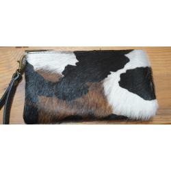 Pochette cuir poil effet vache