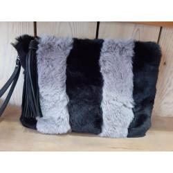"""Pochette sac """"nounours"""" noir et gris"""