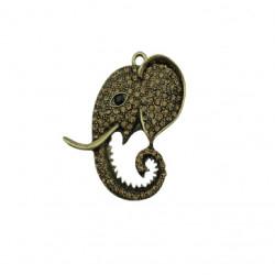 Pendentif métal éléphant strass 53x45mm