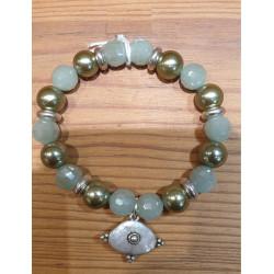 Bracelet cristal vert d'eau pendentif ethnique argenté