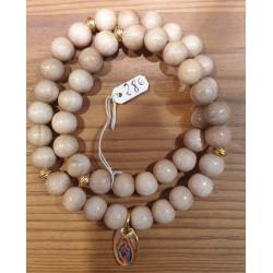 Bracelet double bois, médaille Notre-Dame de Guadalupe