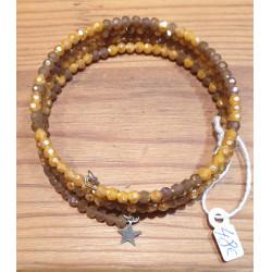 Bracelet multi-tours Cristal, pendentif étoile
