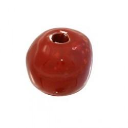 Perle céramique 22mm rouge émaillé