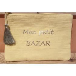 """Pochette message tissu """"Mon petit bazar"""""""
