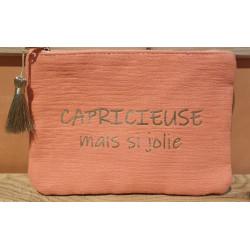 "Pochette message tissu ""Capricieuse mais si jolie"""