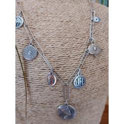 Collier chaine rectangle acier inoxydable, pendentifs métal argenté