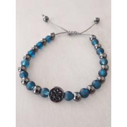 Bracelet homme Hématite, métal noir et verre bleu