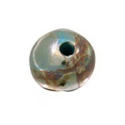 Perle céramique 22mm bleu brun émaillé