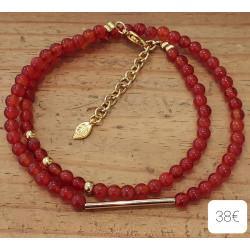 Bracelet Cornaline, métal doré + chaine extension