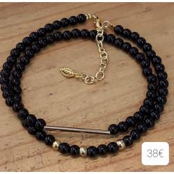 Bracelet Onyx , métal doré + chaine extension