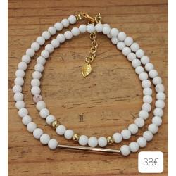 Bracelet Howlite , métal doré + chaine extension