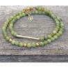 Bracelet double Jade , métal doré + chaine extension