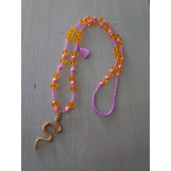 Sautoir perles verre, serpent doré