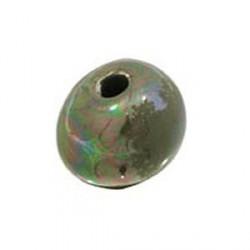 Perle céramique 22mm kaki émaillé