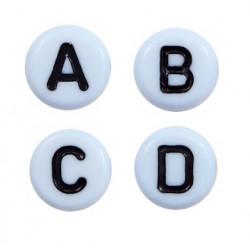 Lettres alphabet acrylique blanc et noir (le sachet de 26)