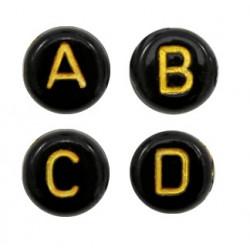 Lettres alphabet acrylique noir et doré (le sachet de 26)