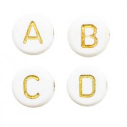 Lettres alphabet acrylique blanc et doré (le sachet de 26)