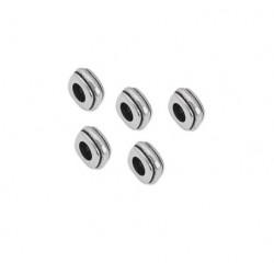 Perle carrée dentelée 4,5 x 8,2mm métal argenté