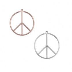 Pendentif Peace métal doré et argenté 53x58mm