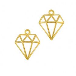 Pendentif diamant 18x16mm métal doré