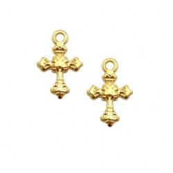 Pendentif croix15x10mm métal doré