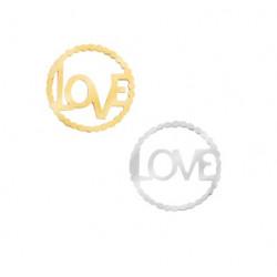 """Connecteur """"Love"""" acier inoxydable doré et argenté"""
