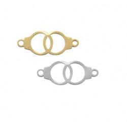 Connecteur menottes acier inoxydable argenté et doré