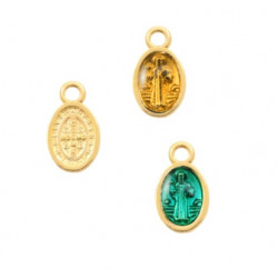 Pendentif médailles religieuses doré et argenté colorées