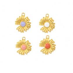 Pendentif marguerite mauve, blanc, rose, corail et métal doré