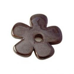Perle fleur céramique 37mm brun foncé émaillé