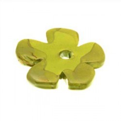 Perle fleur céramique 37mm vert multi émaillé