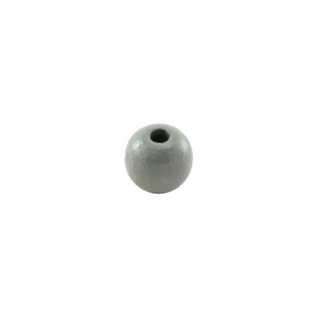 Perles bois 6 mm gris clair