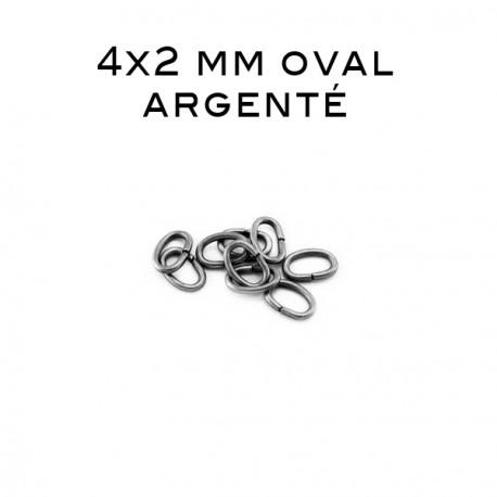 Anneau oval ouvert 4 x 2 MM argenté