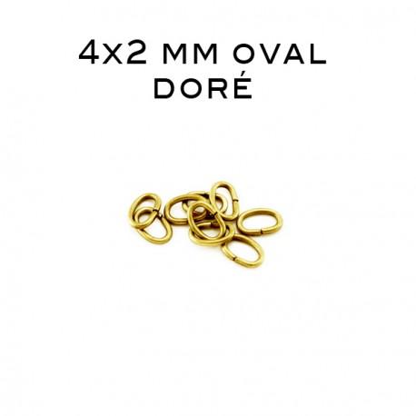Anneau oval ouvert 4 x 2 MM doré
