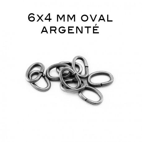 Anneau oval ouvert 6x4 MM argenté