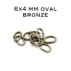 Anneau oval ouvert 6x4 MM bronze
