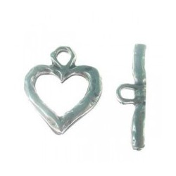 Fermoir T Coeur 2 parties 25x22mm