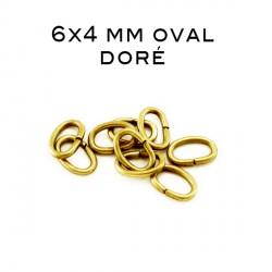 Anneau ouvert oval 6x4 MM doré