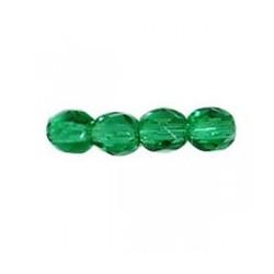 Perle facettes verre 4mm vert foncé