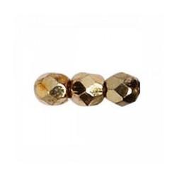 Perle facettes verre 6mm doré