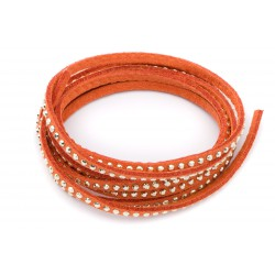Suédine strass 3mm Orange