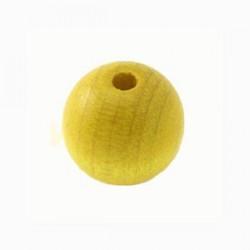 Perles bois 15mm jaune