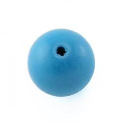 Perles bois 15mm bleu turquoise