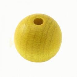 Perles bois 20mm jaune