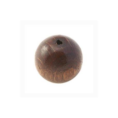 Perles bois 20mm brun foncé