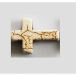 Perle croix Howlite 18x25mm turquoise/ivoire/noir